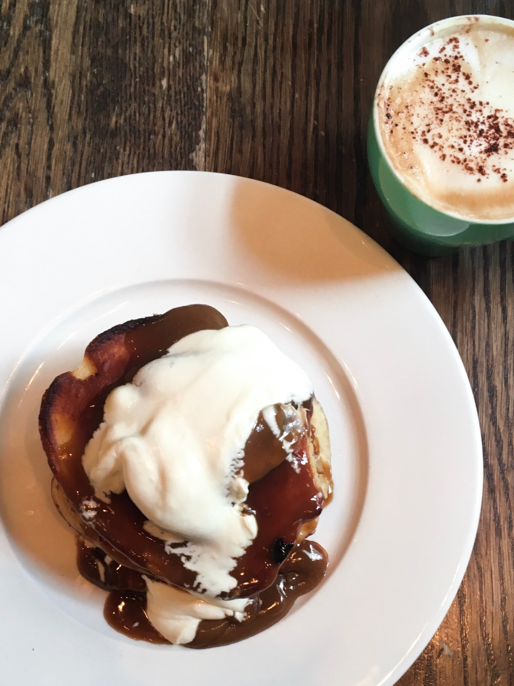 butterscotch pancakes and a cappuccino