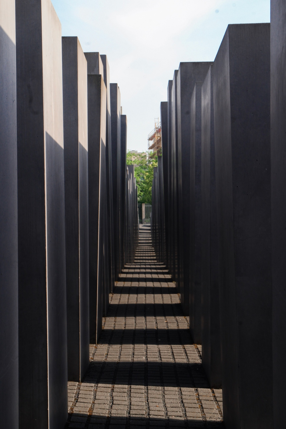 The Holocaust Memorial in Berlin made out of large concrete blocks