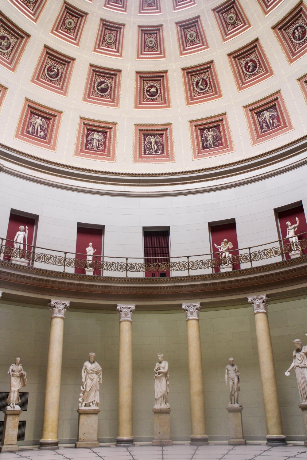 A symmetrical rotunda with statues